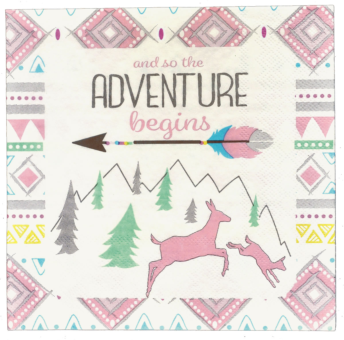 The Adventure Begins GIRL Luncheon Napkin