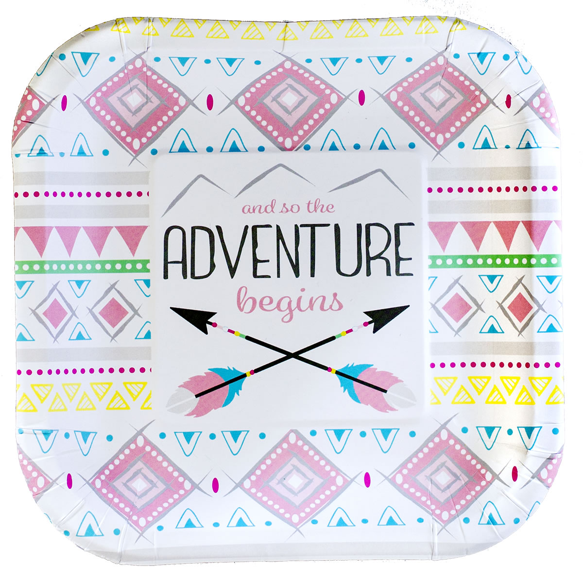 The Adventure Begins GIRL 7 inch Party Plate
