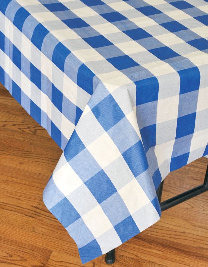 Classic Plaid Tablecover - Blue and White