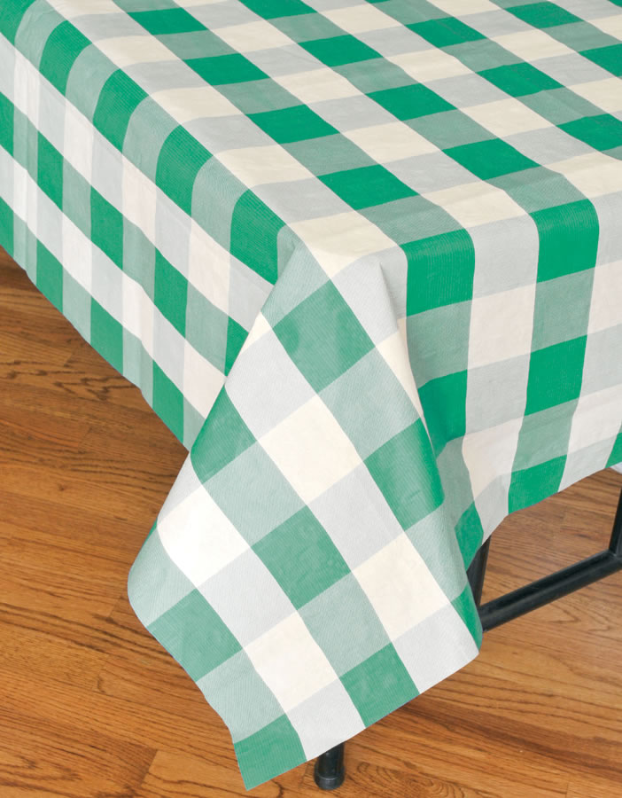 Classic Plaid Tablecover - Green and White