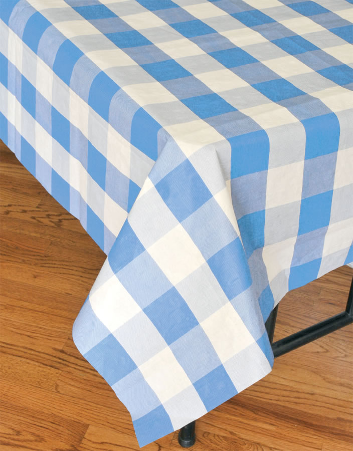 Classic Plaid Tablecover - Light Blue and White