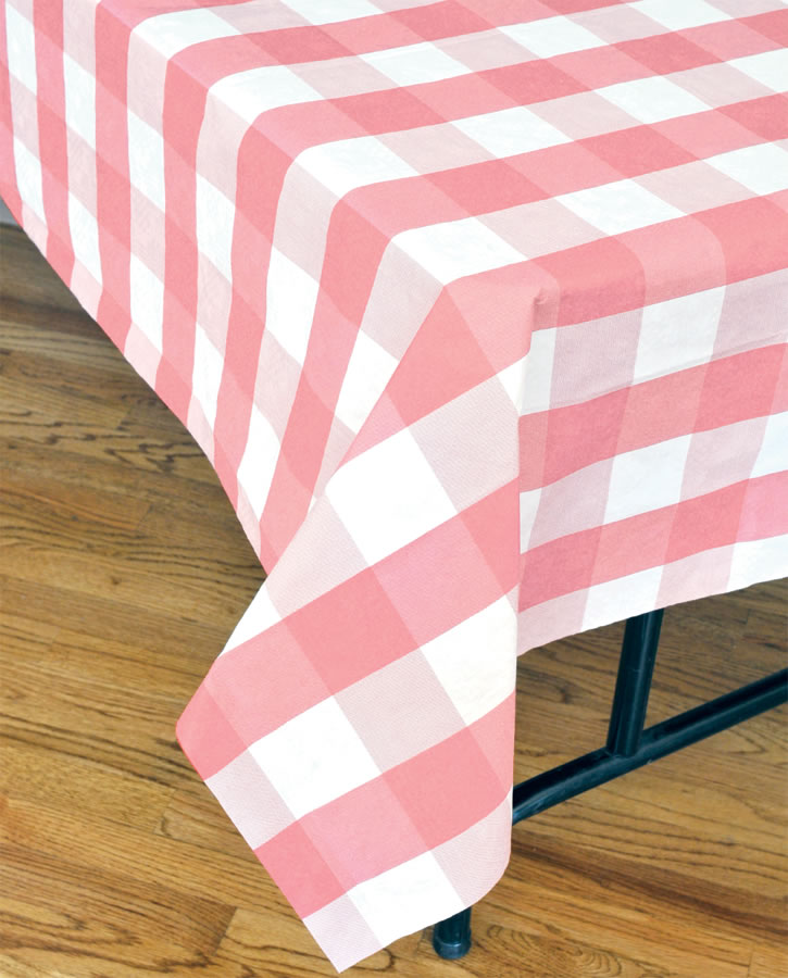 Classic Plaid Tablecover - Pink and White