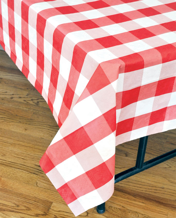 Classic Plaid Tablecover - Red and White
