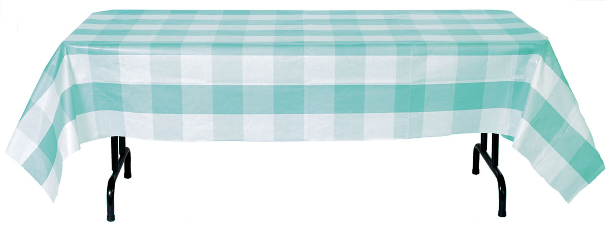 Big Block Plaid Tablecover - Robin's Egg Blue and White