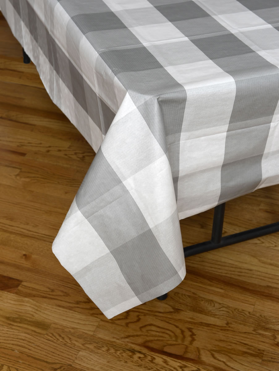 Big Block Plaid Tablecover - Grey and White