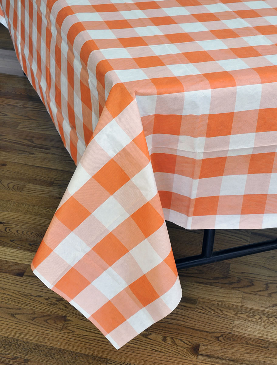 Classic Plaid Tablecover - Orange & White