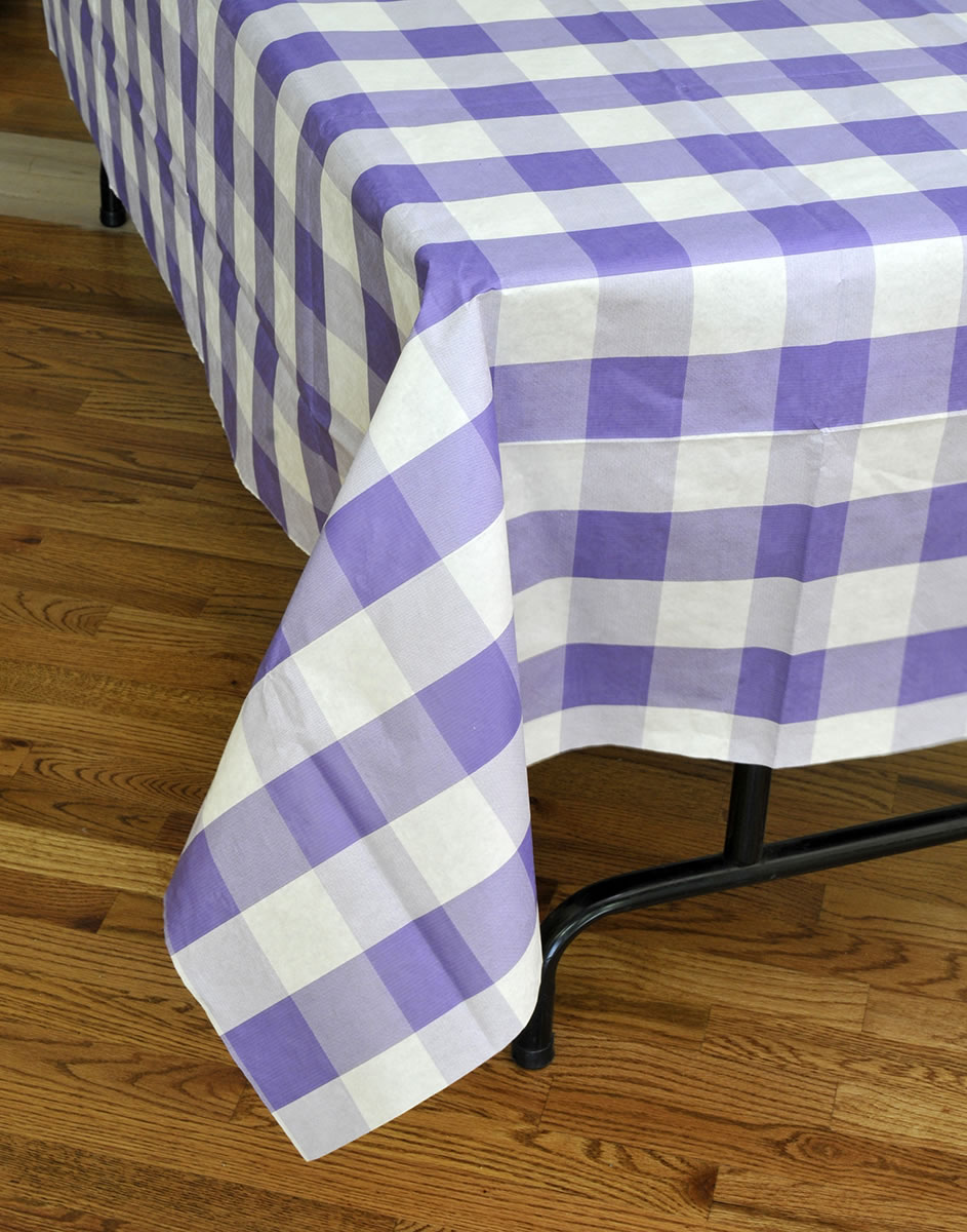 Classic Plaid Tablecover - Purple & White