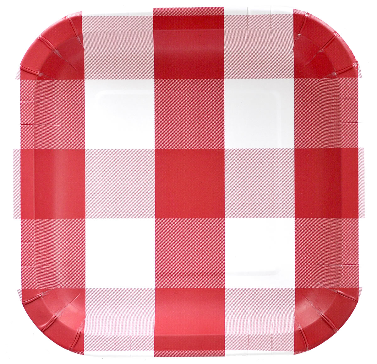 Red Plaid Paper Party Plates