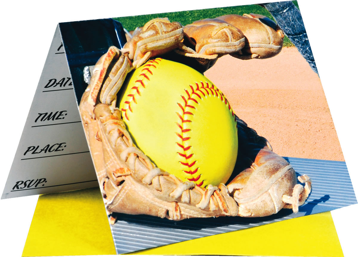 Girl's Fastpitch Softball Party Invitations