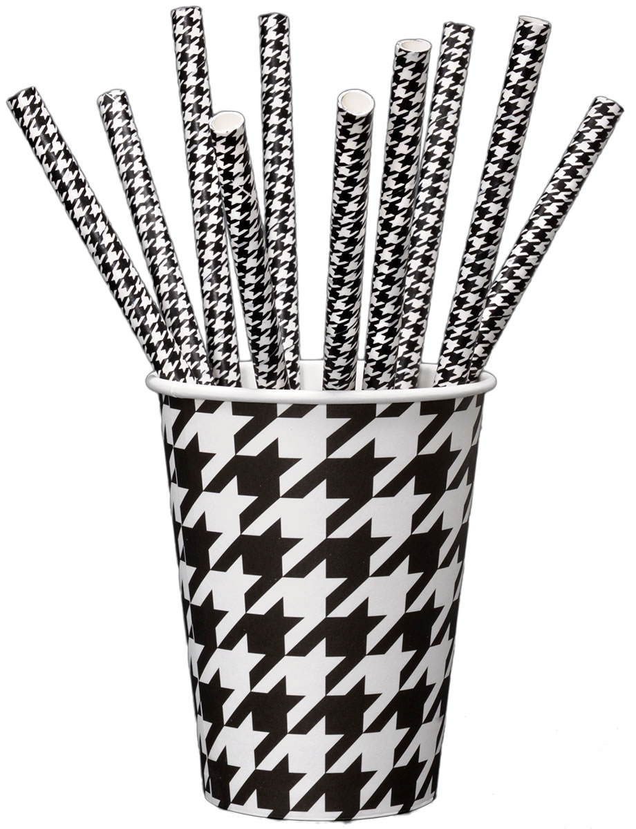 Houndstooth - Party Straws