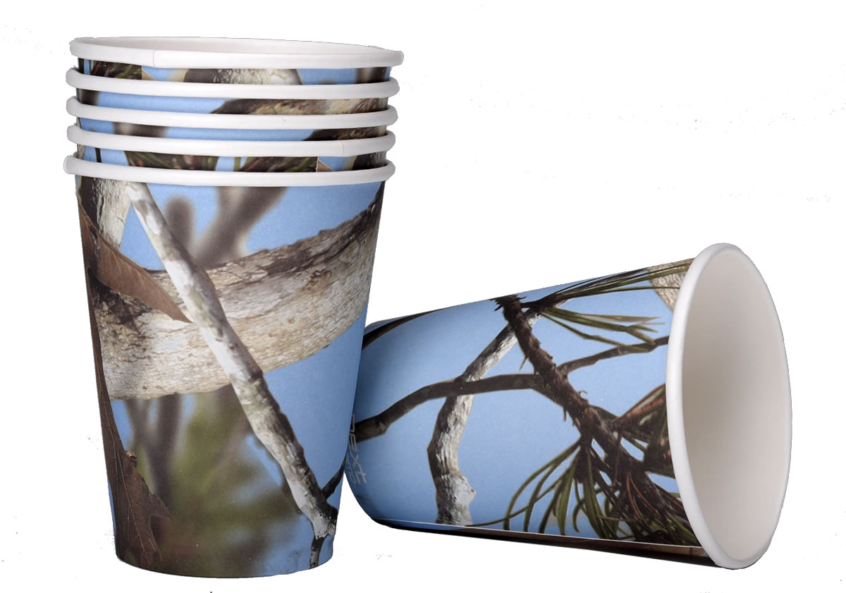 Light Blue Camo 12 oz. Cups