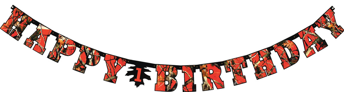 NEXT Camo Happy Birthday Banner - Blaze Orange