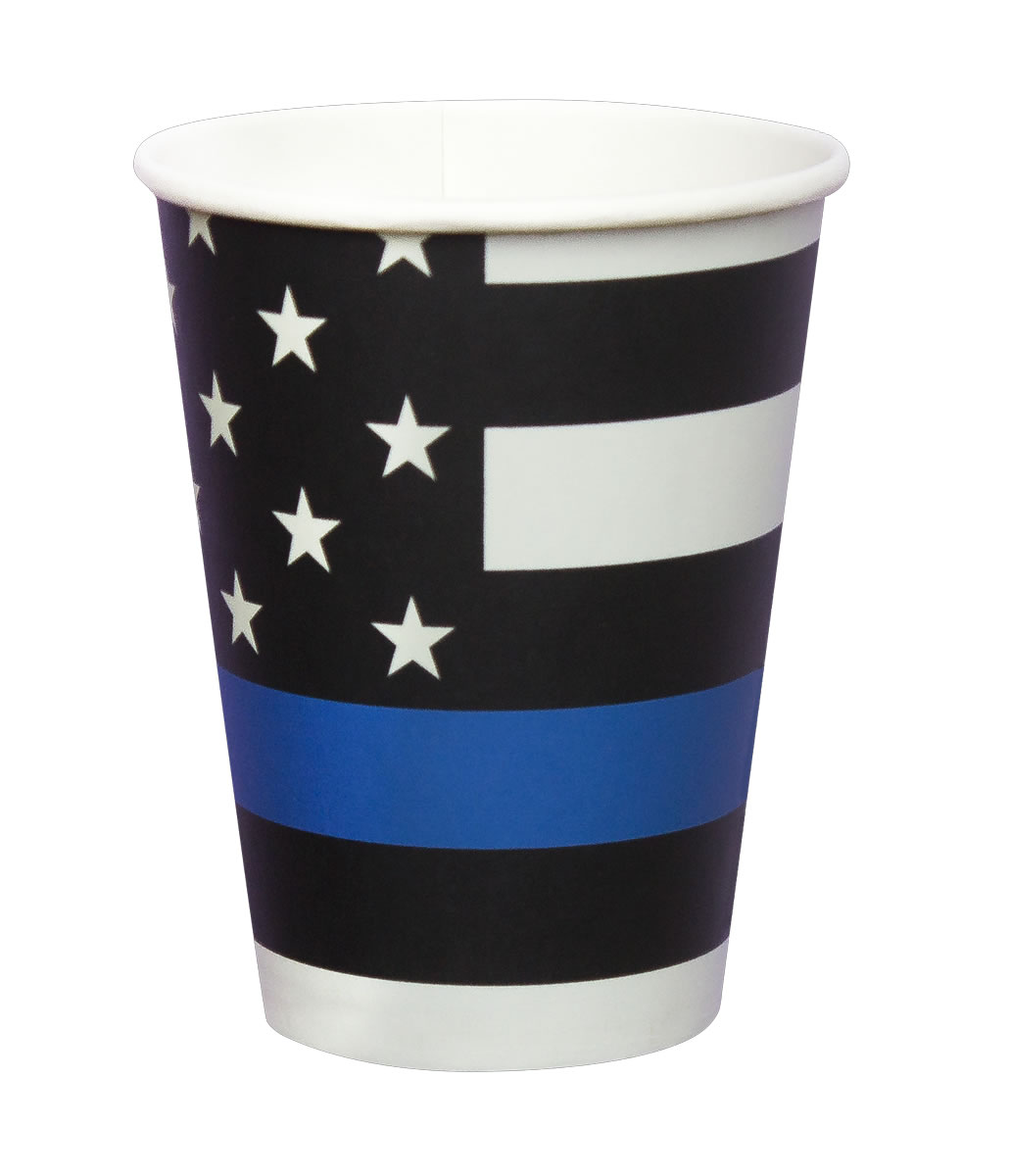 Thin Blue Line Paper Cups