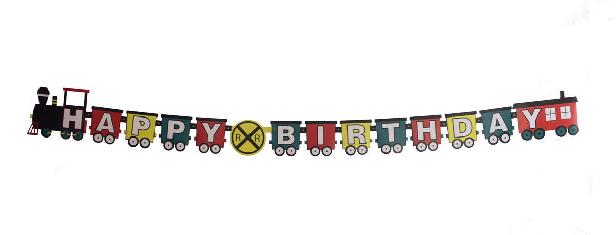 Railroad - Train Happy Birthday Banner