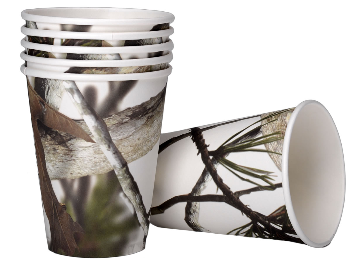 White Camo 12 oz. Party Cups